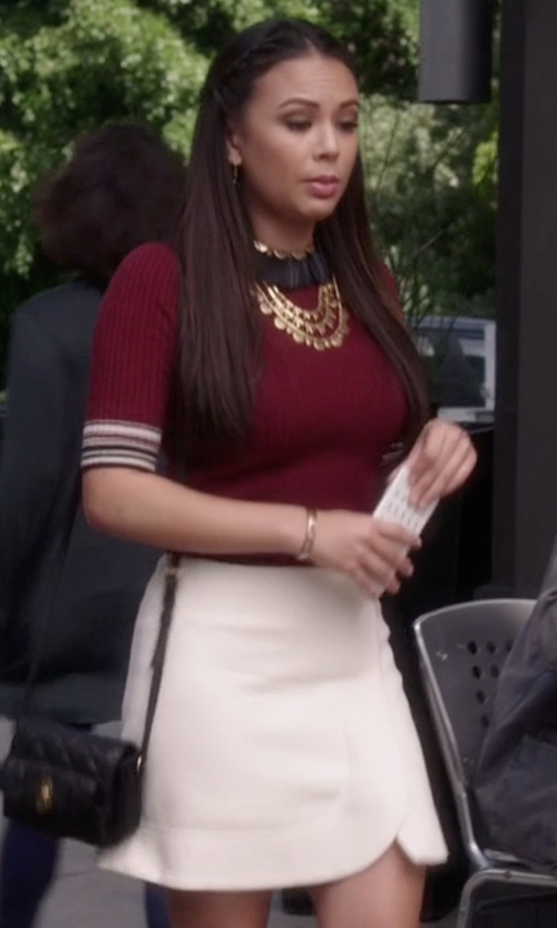 Janel Parrish with Marc By Marc Jacobs Eva Stretch Mini Skirt in Pretty Little Liars