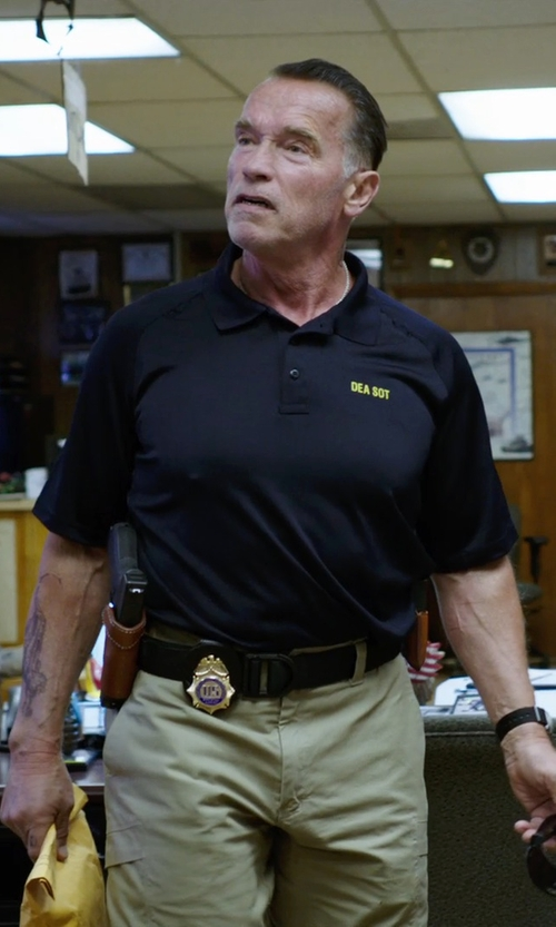 Arnold Schwarzenegger with Versace Collection Polo Shirt in Sabotage