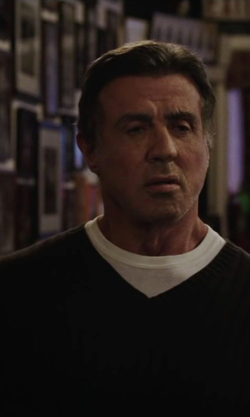 Sylvester Stallone with Christopher Fischer Men's Cashmere Basic V-Neck Sweater in Creed