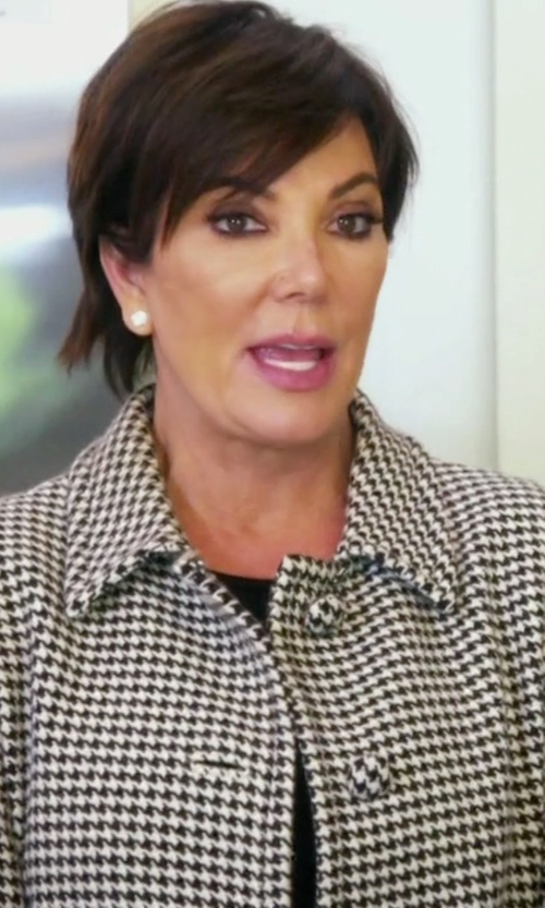 Kris Jenner with Prada Houndstooth Patterned Wool Coat in Keeping Up With The Kardashians