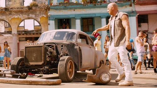 Vin Diesel with G-Star Slim-Fit Light Aged Jeans in The Fate of the Furious