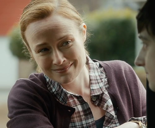 Jennifer Ehle with Gigue Round Collar Cardigan in The Fundamentals of Caring