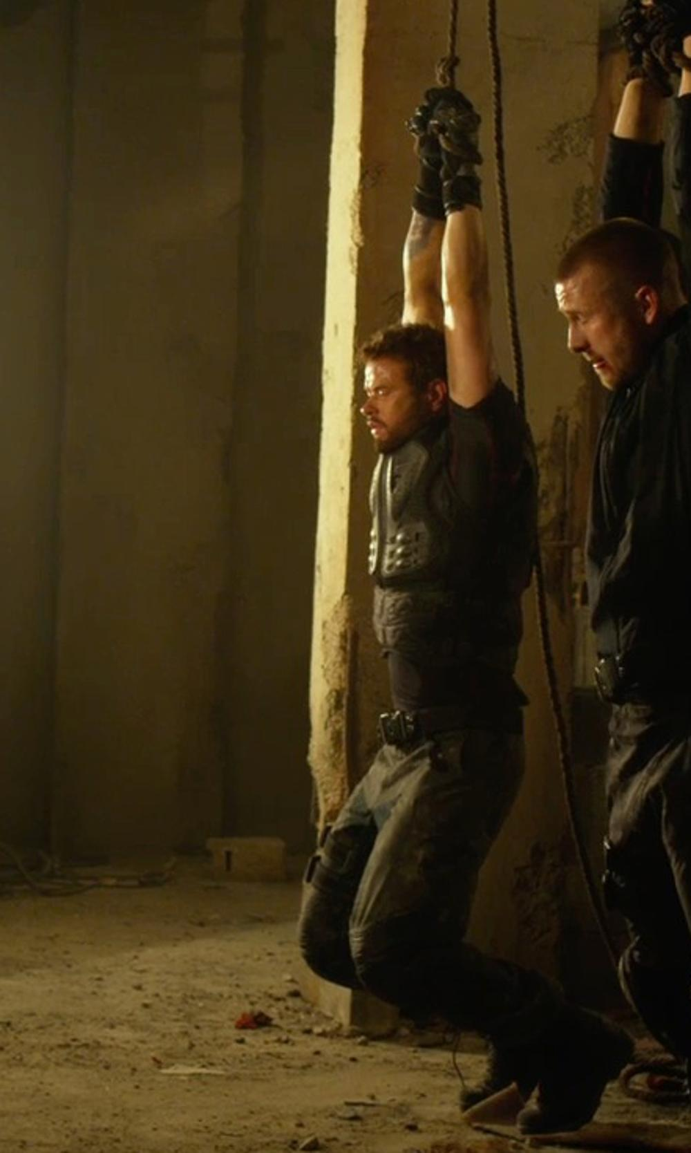 Kellan Lutz with Ralph Lauren Black Label Courier Cargo Pants in The Expendables 3