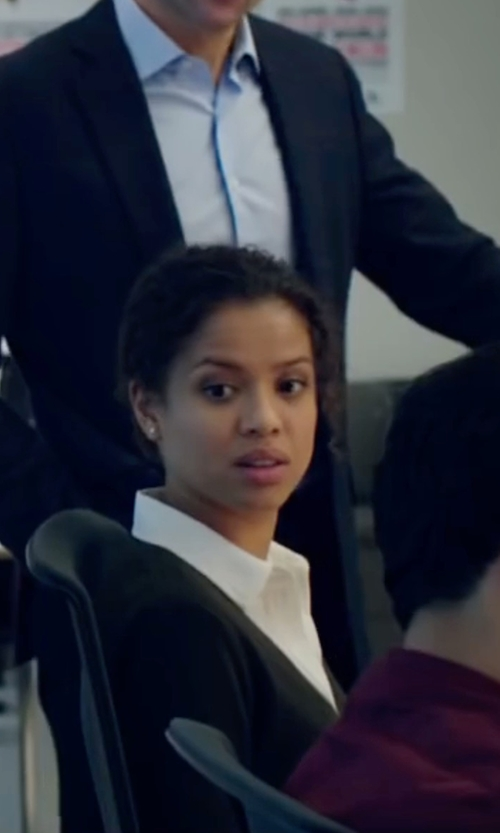 Gugu Mbatha-Raw with Neiman Marcus Cashmere Collection Superfine Cashmere Dolman-Sleeve Cardigan in Miss Sloane