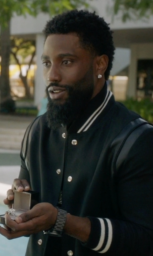 John David Washington with Emporio Armani Stainless Steel Bracelet Watch in Ballers