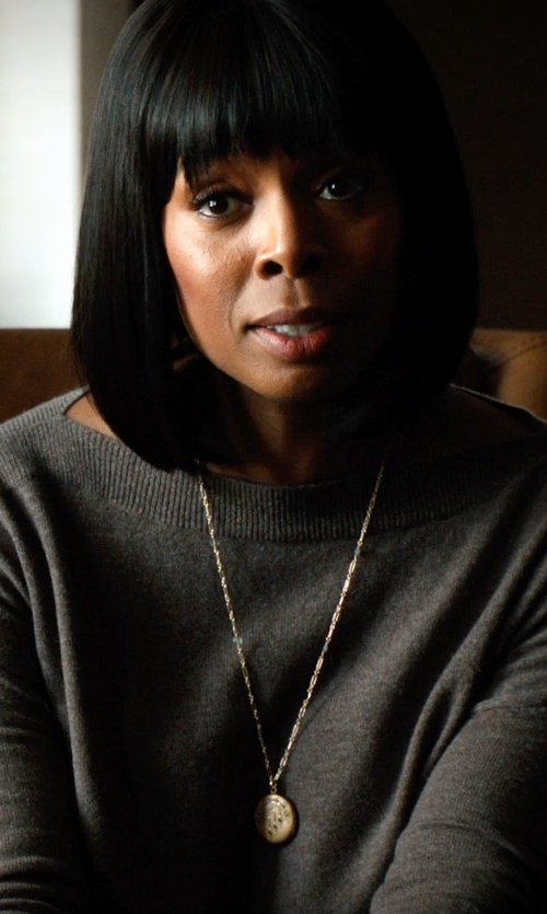 Tasha Smith with Lord & Taylor 14Kt. Yellow Gold Puffed Circle Pendant Necklace in Addicted