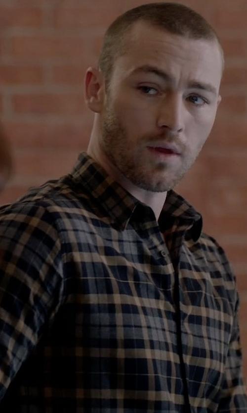 Jake McLaughlin with Ermenegildo Zegna Plaid Long-Sleeve Sport Shirt in Quantico
