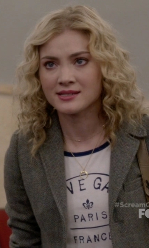 Skyler Samuels with Charlotte Russe Pendant & Choker Layering Necklaces in Scream Queens