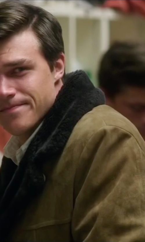Finn Wittrock with Burberry London Rabbit-Fur Collar Military Coat in My All American