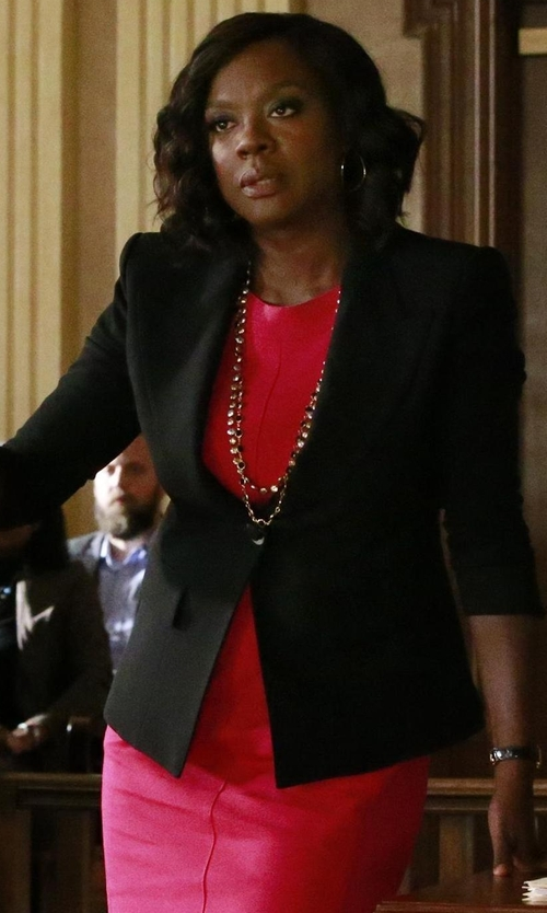 Viola Davis with St. John Collection Nouveau Boucle Peaked-Lapel Jacket in How To Get Away With Murder