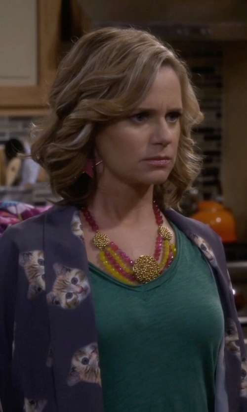 Andrea Barber with Bita Pourtavoosi Pop! Bib Necklace in Fuller House