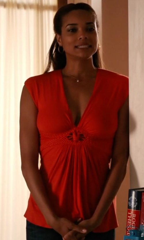 Rochelle Aytes with Kobi Halperin Julia Silk Tie-Front Blouse in Mistresses