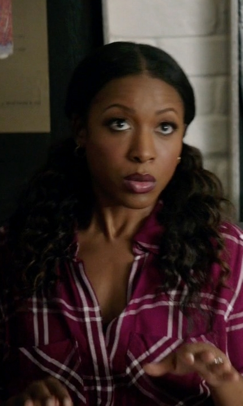 Gabrielle Dennis with Express Windowpane Plaid Shirt in Rosewood