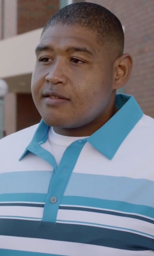 Omar Benson Miller with Tommy Hilfiger Caleb Stripe Polo Shirt in Ballers