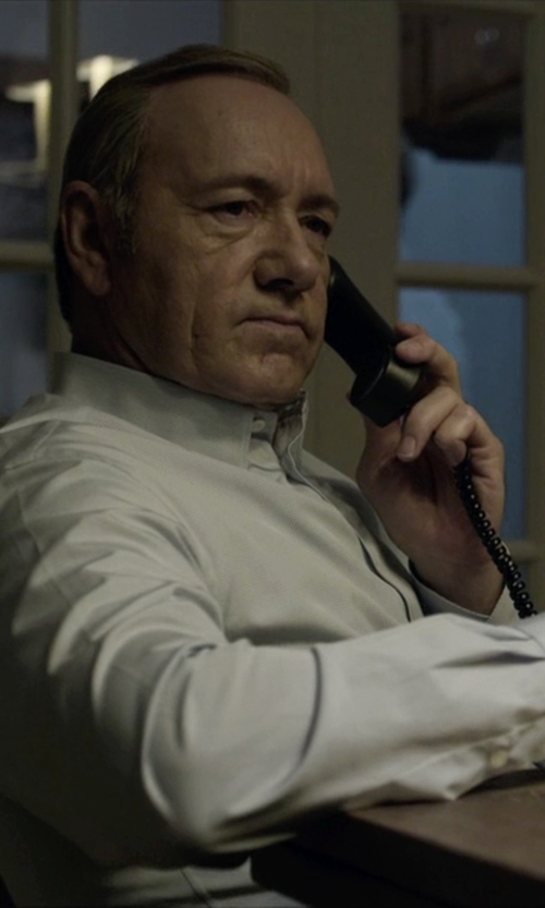 Kevin Spacey with Boss Hugo Boss Gordon Finely Patterned Regular-Fit Shirt in House of Cards