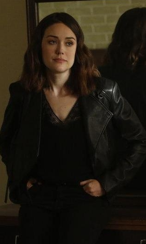 Megan Boone with June Vintage MC Jacket in The Blacklist