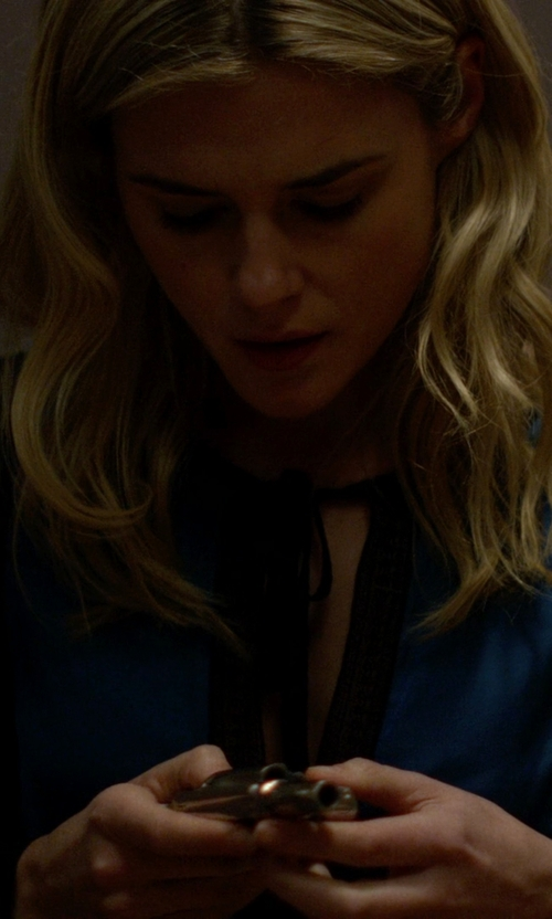 Rachael Taylor with See by Chloé Tie Neck Silk Blouse in Jessica Jones