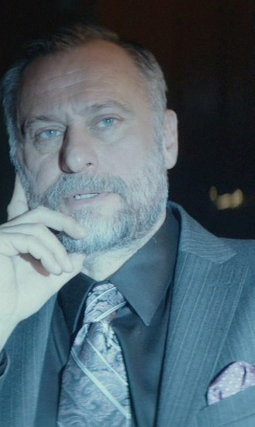 Michael Nyqvist with Ralph Lauren Polka-Dot Silk Pocket Square in John Wick