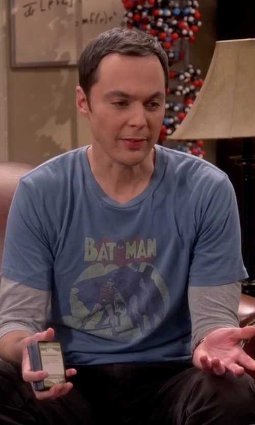 Jim Parsons with TV Store Online Batman & Robin In The Spotlight T-Shirt in The Big Bang Theory