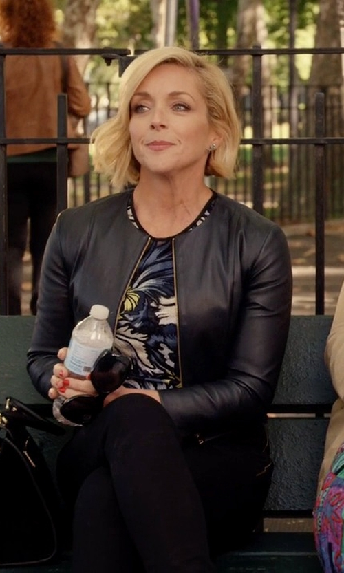 Jane Krakowski with Kate Spade New York Zip-Up Leather Jacket in Unbreakable Kimmy Schmidt