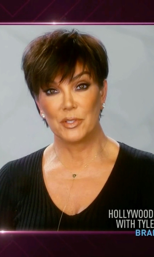 Kris Jenner with Vince Skinny Rib V Neck Sweater in Keeping Up With The Kardashians