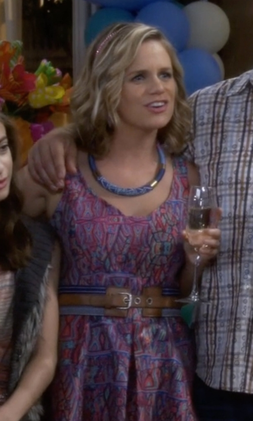 Andrea Barber with Lauren Ralph Lauren 'Double Equestrian' Stretch Leather Belt in Fuller House