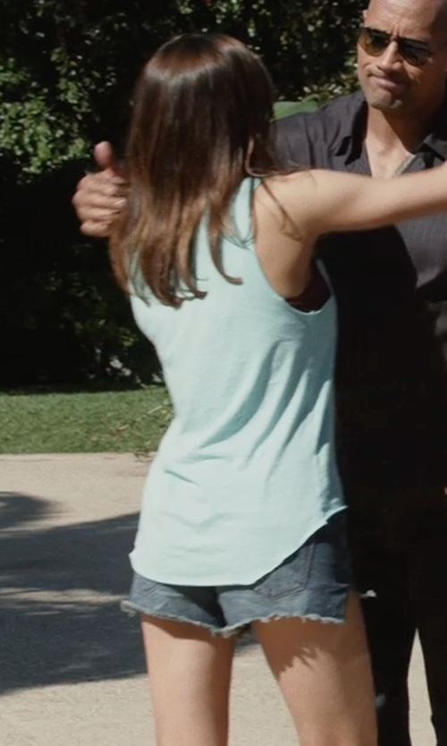 Alexandra Daddario with Joe's Jeans Sun Faded Easy Cut Off Shorts in San Andreas