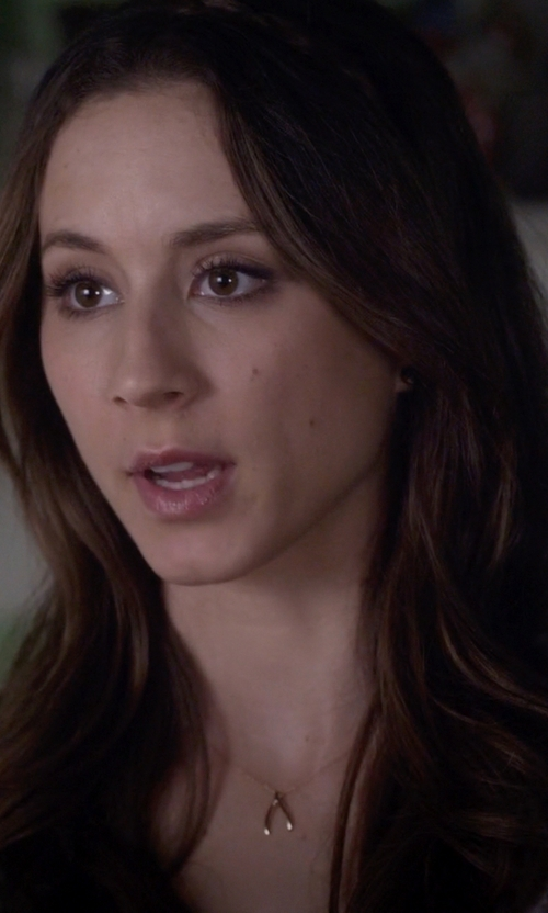 Troian Bellisario with Meredith Hahn Wishbone Riann Necklace in Pretty Little Liars