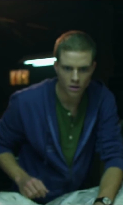 Jonny Weston with Calvin Klein Full-Zip Hoodie in Project Almanac