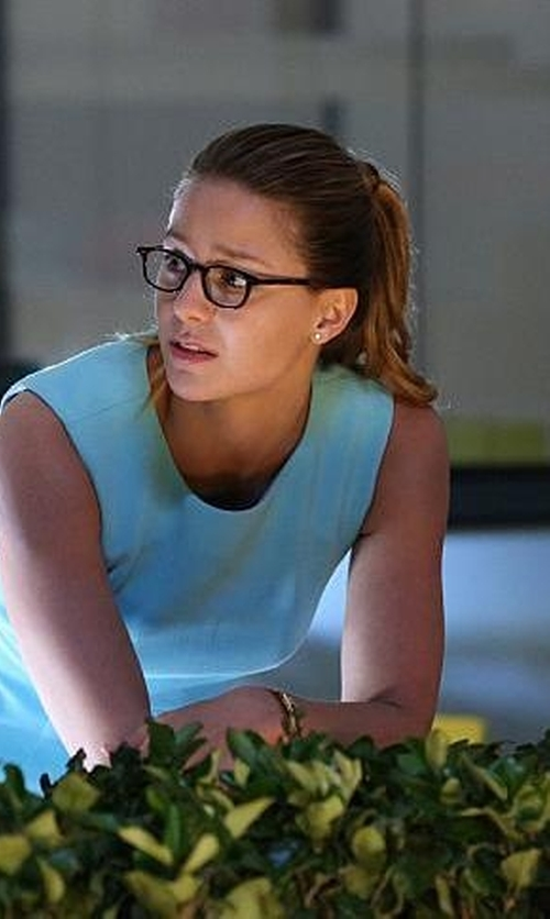 Melissa Benoist with Social Eyes Rectangular Plastic Eyeglasses in Supergirl