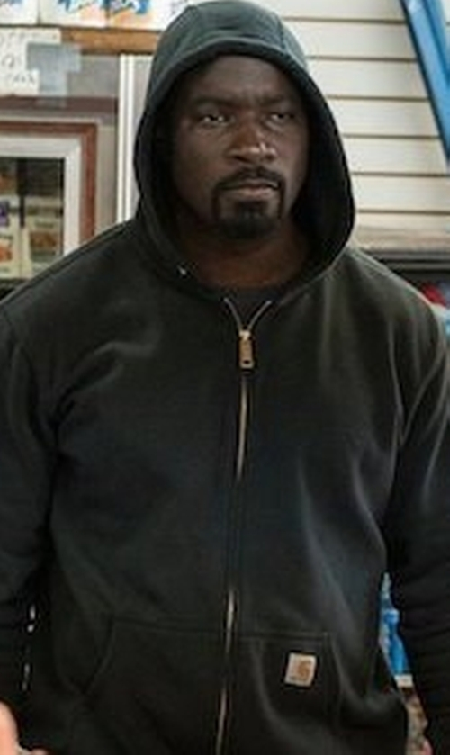 Mike Colter with Carhartt Brushed Fleece Sherpa Lined Sweatshirt in Marvel's The Defenders