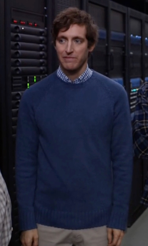 Thomas Middleditch with Brooks Brothers Honeycomb Crewneck Sweater in Silicon Valley
