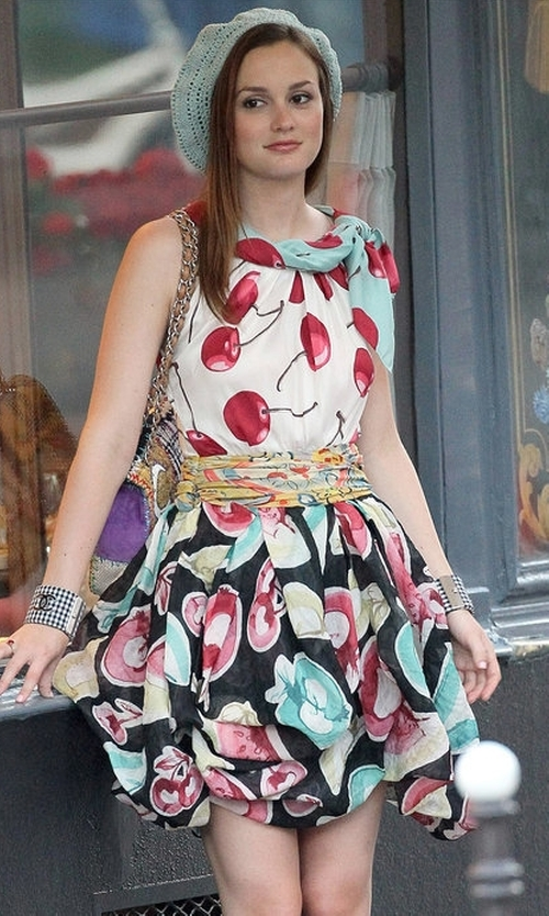 Leighton Meester with Moschino  Spring 2010 RTW Print Cherry Dress in Gossip Girl