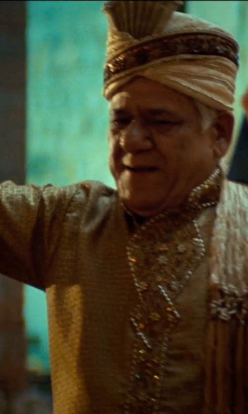 Om Puri with Salwar Kameez Cream & Maroon Jacquard Sherwani in The Hundred-Foot Journey