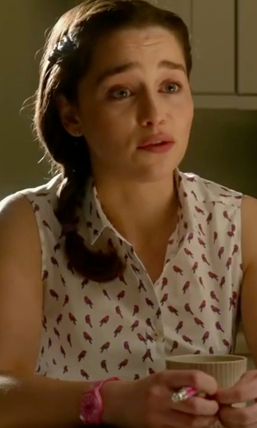 Emilia Clarke with Savile Row Company Women's White Pink Bird Sem Fitted Sleeveless Shirt in Me Before You