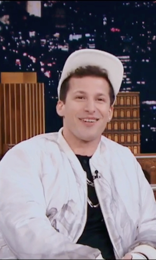 Andy Samberg with Topman AAA White Ruched Bomber Jacket in Popstar: Never Stop Never Stopping