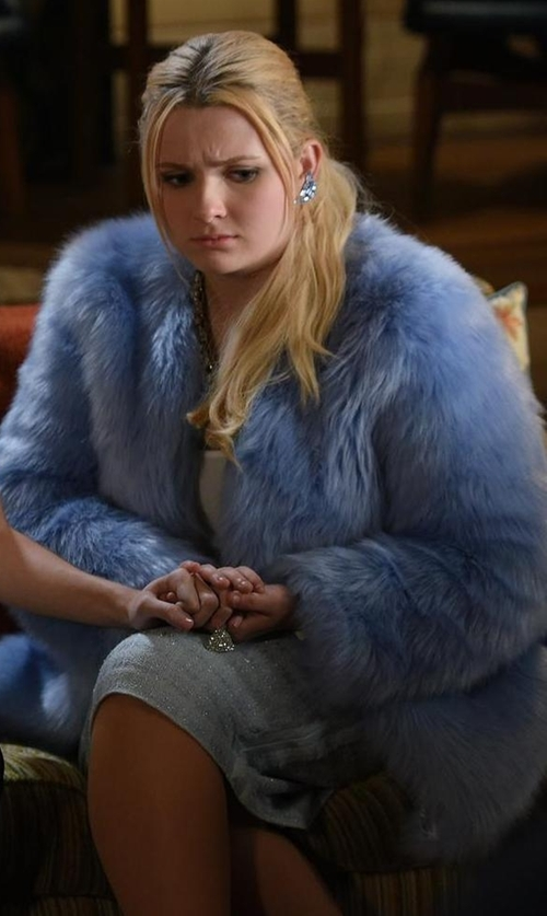 Abigail Breslin with St. John Collection Textural Twill Pencil Skirt in Scream Queens