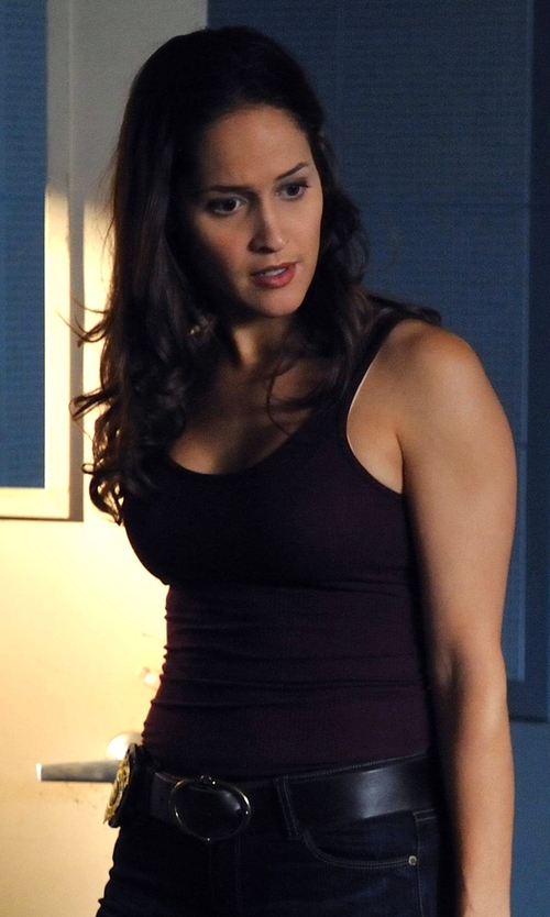 Jaina Lee Ortiz with Splendid 1x1 Tank Top in Rosewood