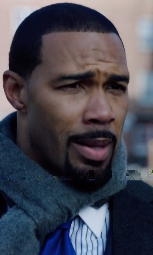 Omari Hardwick with Neiman Marcus Cashmere Single-Breasted Topcoat in Power
