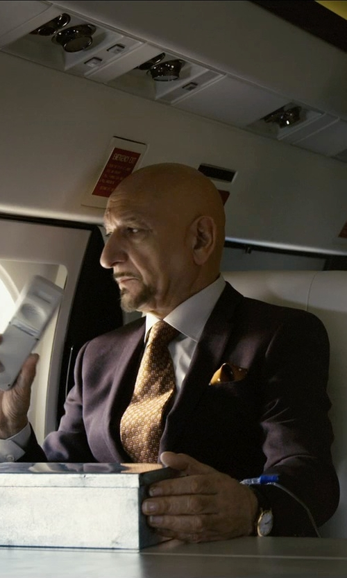 Ben Kingsley with The Tie Bar Satin Dot Pocket Square in Self/Less