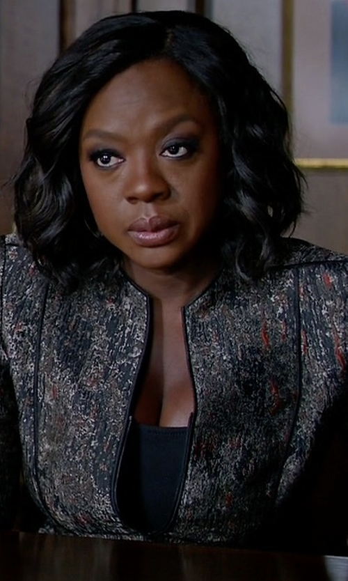 Viola Davis with Lafayette 148 New York Eliza Zip-Front Jacquard Jacket in How To Get Away With Murder