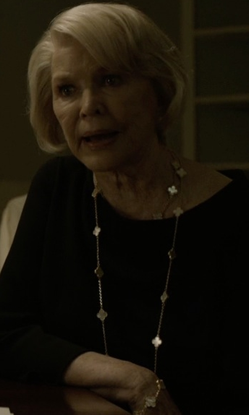 Jayne Atkinson with Van Cleef & Arpels Vintage Alhambra Long Necklace in House of Cards