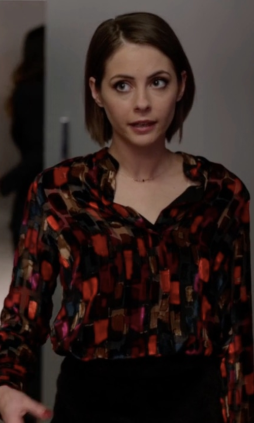 Willa Holland with Alice + Olivia Velvet and Organza Shirt in Arrow