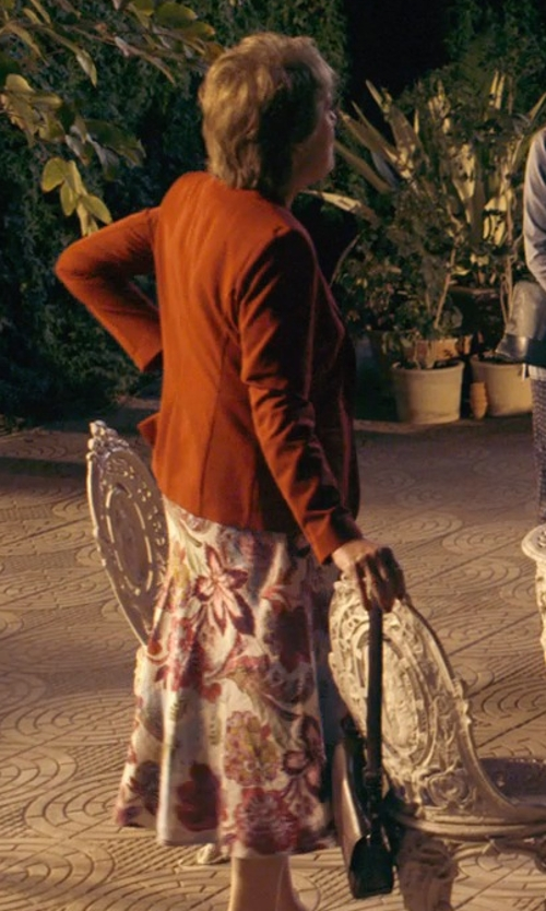 Penelope Wilton with Piccione.Piccione Floral Printed Viscose Shantung Skirt in The Second Best Exotic Marigold Hotel