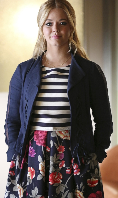Sasha Pieterse with Nanette Lepore Angle Falls Structured Lace-Up Jacket in Pretty Little Liars