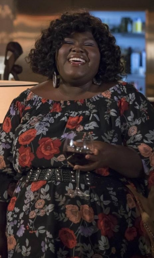 Gabourey Sidibe with City Chic Dark Poppy Off The Shoulder Dress in Empire