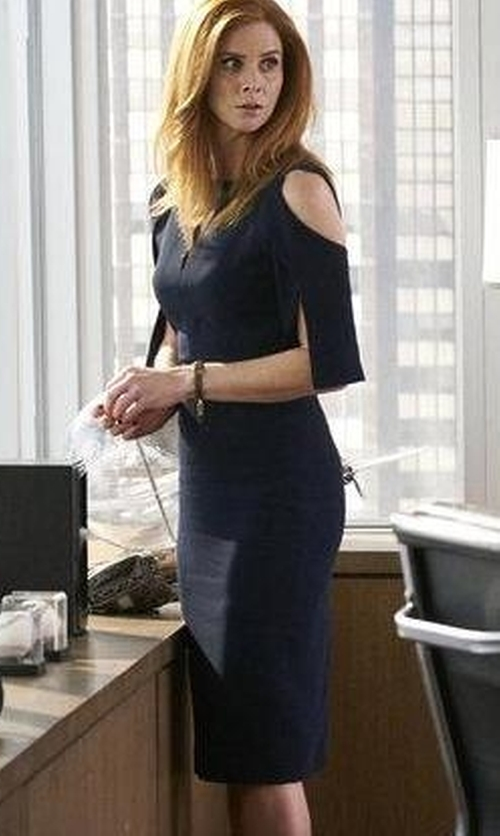 Sarah Rafferty with Roland Mouret Keeling Cutout Crepe Dress in Suits