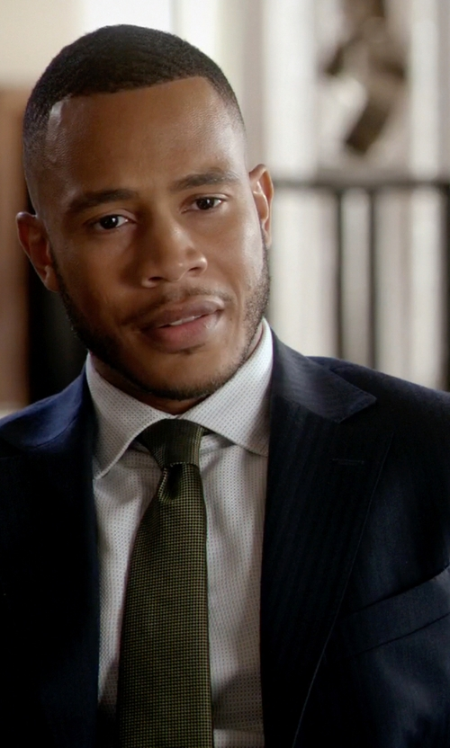Trai Byers with Hickey Freeman Regular-Fit Tonal Striped Wool Suit in Empire