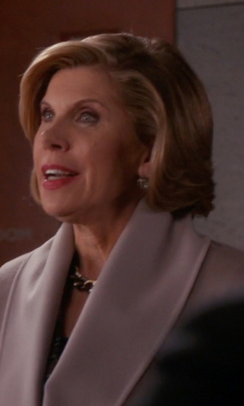 Christine Baranski with Reiss Sila Shawl-Collar Coat in The Good Wife