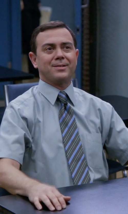 Joe Lo Truglio with J.Z. Richards Stripe Silk Tie in Brooklyn Nine-Nine